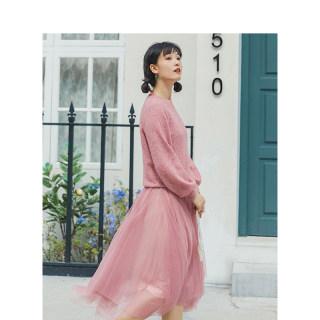 2020春季新款春装新款粉色宽松两件套针织网纱连衣裙