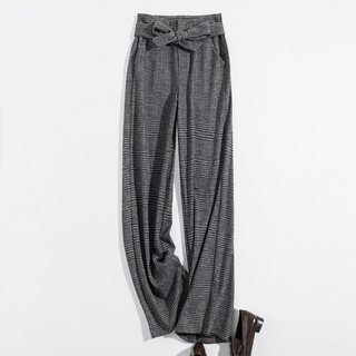 2019冬新款女款简约格纹系带宽松呢料阔腿裤休闲裤
