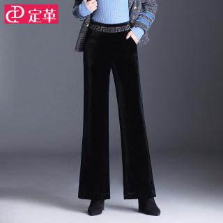 金丝绒阔腿裤女秋冬款高腰垂感直筒裤加绒休闲裤宽松显瘦长裤加厚