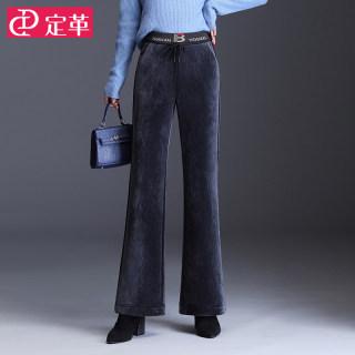 灯芯绒喇叭裤女高腰秋冬季2019新款修身显瘦条绒微喇裤加绒长裤子