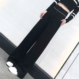 2019秋装新款简约单排扣宽松高腰垂感长款休闲裤