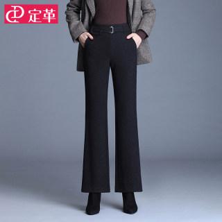 毛呢喇叭裤女高腰秋冬季2019新款宽松显瘦垂感微喇裤黑色休闲西裤