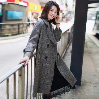 韩风时尚翻领长袖绑带纹理图案双排扣宽松中长款毛呢大衣外套女
