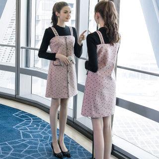 大码女装2020新款胖mm假两件遮肚连衣裙时尚波点毛边显瘦裙子