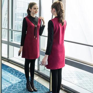 2020新款胖mm洋气减龄遮肚裙子大码女装假两件宽松显瘦连衣裙