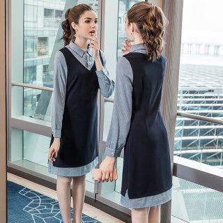 2020春季新款大码女装胖mm假两件连衣裙洋气Polo中长款条纹裙