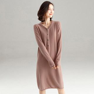 V领羊绒衫女套头中长款过膝2019新款秋冬纯色羊绒毛衣连衣裙女