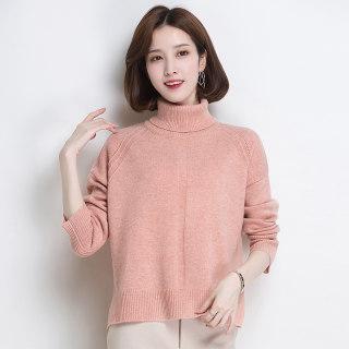 羊毛针织衫秋冬纯色高领上衣2020慵懒气质宽松毛衣女短款
