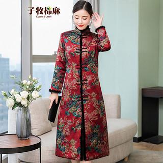 冬装新款 女改良夹棉旗袍长袖大气开襟加厚礼服连衣裙
