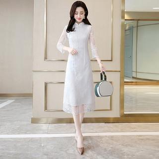 秋装女旗袍新款立领蕾丝纯色收腰中长旗袍连衣裙