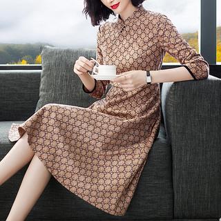 秋季新款连衣裙改良旗袍中老年秋装长袖麂皮绒裙子