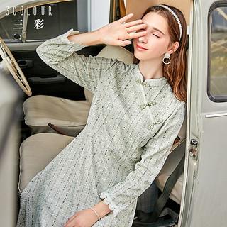 秋冬季新款民国风连衣裙长袖复古气质改良蕾丝旗袍裙女