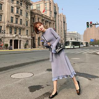 女初秋新款法国小众毛衣针织连衣裙长袖女配大衣的长裙子内搭连衣裙女