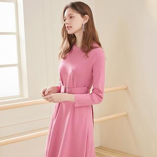 2020春季新款圆领纯色不规则减龄修身针织裙典雅长袖连衣裙女