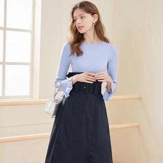 2020春季新款圆领喇叭袖腰带假两件北欧风长袖典雅连衣裙女