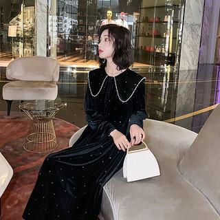 丝绒拜年连衣裙女2020春装新款赫本风心机小黑裙年会过膝打底裙子