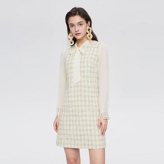 春季新品女装淑女风格纹外件系带领两件式连衣裙