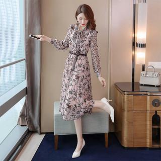 2020春夏新款女装时尚淑女风修身显瘦印花连衣裙