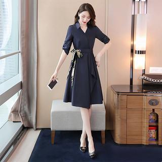 2020春夏新款腰带连衣裙收腰显瘦减龄设计感OL气质