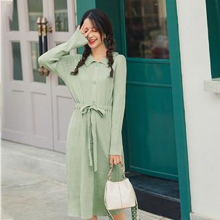 春季文艺甜美翻领坑条针织连衣裙收腰显瘦绿色气质