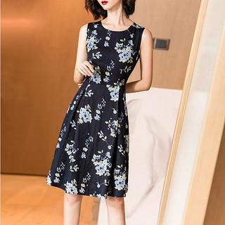 2020秋季新款复古优雅碎花裙气质收腰显瘦印花无袖连衣裙女