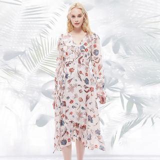 2020春装新款女V领荷叶边长袖收腰印花中长款连衣裙