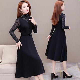 黑色连衣裙2020年初早春秋季新款女装赫本风晚礼服中长款过膝气质