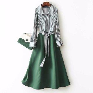 2020春女款优雅收腰修身条纹拼色A字连衣裙