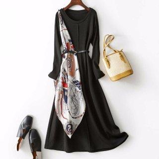 2020春女款丝巾装饰优雅收腰中长款A字连衣裙