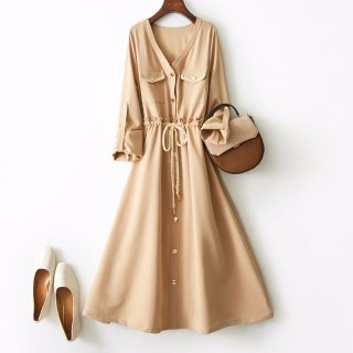 2020春连衣裙女式气质V领单排扣抽绳收腰连衣裙