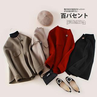 2020新款秋冬高端流行双面羊毛大衣女小个子短款圆领宽松毛呢外套