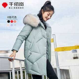 秋冬新品时尚甜美中长款毛领羽绒服纯色厚款羽绒服女