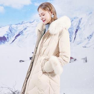 2020冬季新款奢华狐狸毛大毛领白鹅绒羽绒服加厚收腰外套女
