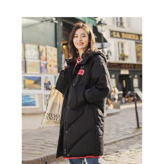 冬装新款白鸭绒连帽印花休闲长款加厚羽绒服女外套