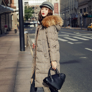 时尚韩版侧开叉格子通勤百搭女款中长款羽绒服