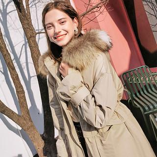 2020冬季新款貉子毛大毛领工装羽绒服派克服中长白鸭绒外套女