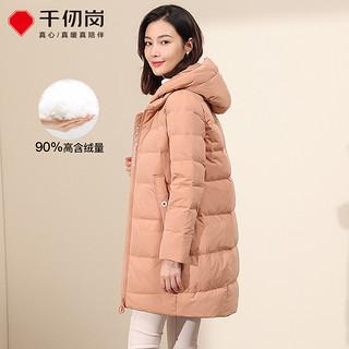 2020新款秋冬羽绒服女中长款纯色休闲连帽加厚大码冬装外套