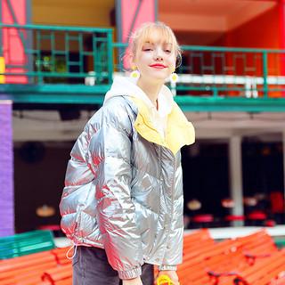 免洗亮面银色轻薄羽绒服女短款面包服2020冬季新款镭射防冻裂外套