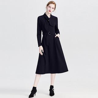 2020春秋装新款女时尚通勤纯色修身气质中长款连衣裙