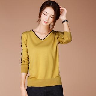 2020春季新款韩版V领长袖毛衣套头针织衫女士宽松打底衫
