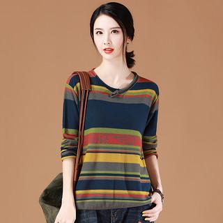 毛衣女2020春季新款春秋季宽松韩版薄款条纹长袖套头毛针织衫