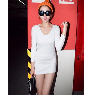 新款长袖V领韩国打底包臀连衣裙