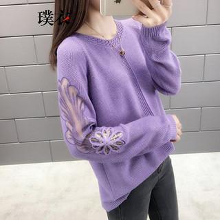 2020春装新款 女韩版蕾丝镂空圆领套头毛衣打底宽松长袖针织衫