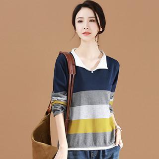 韩版撞色条纹长袖打底针织衫女2020春季新款宽松套头毛衣