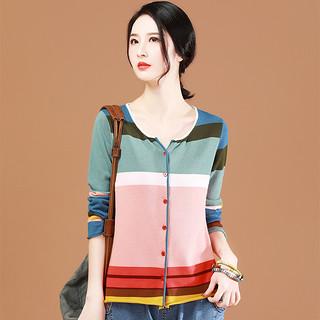 条纹针织开衫女宽松韩版2020春装新款圆领拼色毛衣外套薄