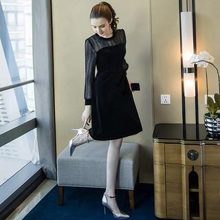 法式复古2020新款春季女装胖mm洋气遮肚雪纺胖公主减龄黑色连衣裙