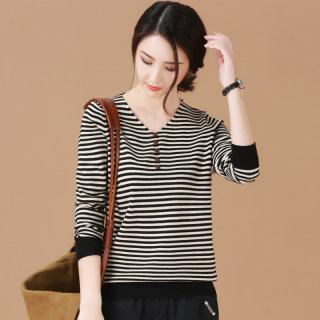 针织打底衫女2020春季新款韩版长袖条纹v领宽松套头毛衣