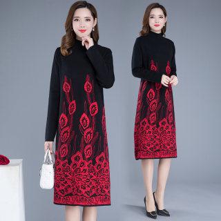 2020春季新品针织显瘦连衣裙圆领长袖印花百搭时尚打底裙女潮40岁女装