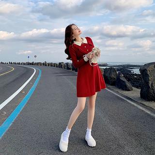 女红色连衣裙秋冬小个子毛衣裙中长款针织裙子2020新款过年衣服女装小香风