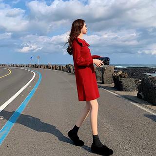 2020新款针织连衣裙内搭女秋冬娃娃领毛衣打底裙气质红色裙子过年衣服女装